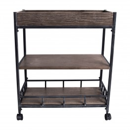 Niles Industrial Cart in Industrial Grey and Pine Wood