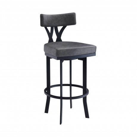 "Natalie Contemporary 26"" Counter Height Barstool in Black Powder Coated Finish and Vintage Grey Faux Leather"