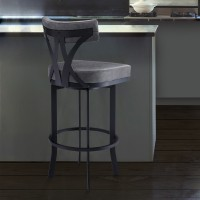 """Natalie Contemporary 30"""" Bar Height Barstool in Black Powder Coated Finish and Vintage Grey Faux Leather"""