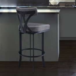 "Natalie Contemporary 30"" Bar Height Barstool in Black Powder Coated Finish and Vintage Grey Faux Leather"