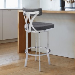 "Natalie Contemporary 26"" Counter Height Barstool in Brushed Stainless Steel Coated Finish and Vintage Grey Faux Leather"