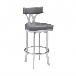 "Natalie Contemporary 30"" Bar Height Barstool in Brushed Stainless Steel Finish and Vintage Grey Faux Leather"