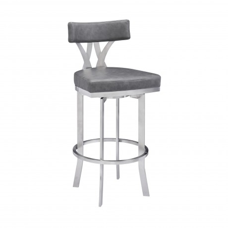 """Natalie Contemporary 30"""" Bar Height Barstool in Brushed Stainless Steel Finish and Vintage Grey Faux Leather"""