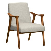 Nathan Mid-Century Accent Chair in Champagne Finish and Beige Fabric with Ash Wood