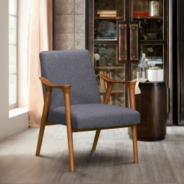Nathan Mid-Century Accent Chair in Champagne Finish and Dark Grey Fabric with Ash Wood