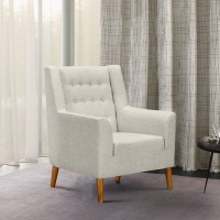 Nubia Mid-Century Accent Chair in Champagne Finish and Beige Fabric with Rubber Wood