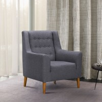 Nubia Mid-Century Accent Chair in Champagne Finish and Dark Grey Fabric with Rubber Wood