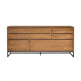 Nevada Rustic Oak Wood Sideboard In Balsamico