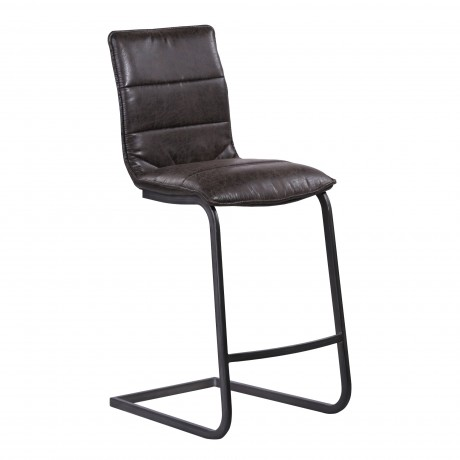 """NewarkContemporary 26"""" Counter HeightBarstool in Gray Powder Coated Finish and Espresso Fabric"""