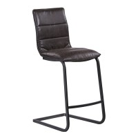 "Armen Living Newark Contemporary 30"" Bar Height Barstool in Gray Powder Coated Finish and Espresso Fabric"
