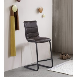 "Newark Contemporary 30"" Bar Height Barstool in Gray Powder Coated Finish and Espresso Fabric"