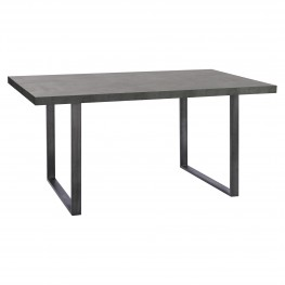 Armen Living Newark Contemporary Dining Table in Gray Powder Coated Finish and Rusted Black