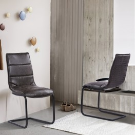 Newark Contemporary Dining Chair in Grey Powder Coated Finish and Espresso Fabric - Set of 2
