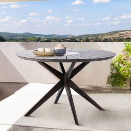 Oasis Outdoor Dark Eucalyptus Wood and Concrete Round Dining Table