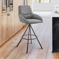 """Odessa 26"""" Counter Height Bar Stool in Charcoal Fabric and Black Finish"""