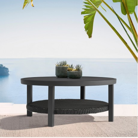 Cayman Black Aluminum Outdoor Round Conversation Table with Wicker Shelf