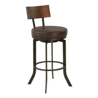 "Armen Living Ojai Mid-Century 30"" Bar Height Metal Swivel Barstool in Auburn Bay Finish with Ford Brown Leather and Sedona Wood Back"