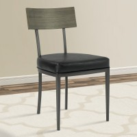 Armen Living Ojai Mid-Century Dining Chair in Mineral Finish with Vintage Black Faux Leather and Grey Walnut Wood Back - Set of 2