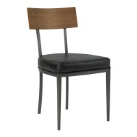 Armen Living Ojai Mid-Century Dining Chair in Mineral Finish with Vintage Black Faux Leather and Walnut Wood Back - Set of 2