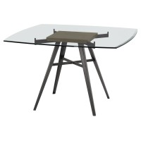 Armen Living Ojai Contemporary Dining Table in Mineral Finish with Clear Glass Top and Grey Walnut Wood Insert