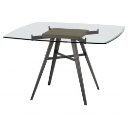 Ojai Contemporary Dining Table in Mineral Finish with Clear Glass Top and Grey Walnut Wood Insert
