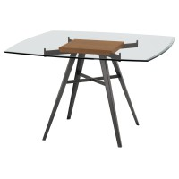 Armen Living Ojai Contemporary Dining Table in Mineral Finish with Clear Glass Top and Walnut Wood Insert