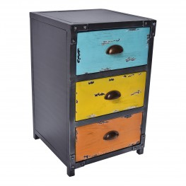 Oskar Industrial 3-Drawer End Table in Industrial Grey and Pine Wood with Blue, Yellow, and Orange Drawer Highlights