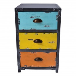Armen Living Oskar Industrial 3-Drawer End Table in Industrial Grey and Pine Wood with Blue, Yellow, and Orange Drawer Highlights