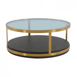Hattie Glass Top and Walnut Wood Coffee Table with Brushed Gold Frame
