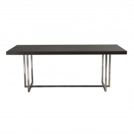 Opal Contemporary Dining Table in Brushed Stainless Steel Finish with Grey Top