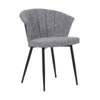 Orchid Contemporary Dining Chair in Black Powder Coated Finish with Grey Fabric and Black Brushed Wood Finish Back