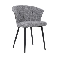 Orchid Mid-Century Dining Chair in Black Powder Coated Finish with Grey Fabric and Walnut Glazed Finish Back