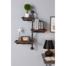"30"" Orton Industrial Pine Wood Floating Wall Shelf in Gray and Walnut Finish"