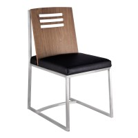 Armen Living Oxford Dining Chair in Brushed Stainless Steel with Vintage Black Faux Leather and Walnut Wood Back (Set of 2)