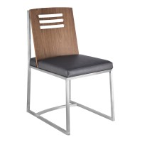 Armen Living Oxford Dining Chair in Brushed Stainless Steel with Vintage Grey Faux Leather and Walnut Wood Back (Set of 2)