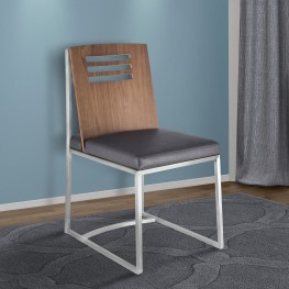 Oxford Dining Chair in Brushed Stainless Steel with Vintage Grey Faux Leather and Walnut Wood Back (Set of 2)