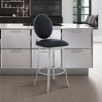 """Pia Contemporary 26"""" Counter Height Barstool in Brushed Stainless Steel Finish and Black Faux Leather"""