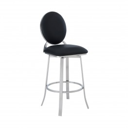 "Pia Contemporary 30"" Bar Height Barstool in Brushed Stainless Steel Finish and Black Faux Leather"