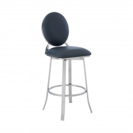 "Pia Contemporary 26"" Counter Height Barstool in Brushed Stainless Steel Finish and Grey Faux Leather"