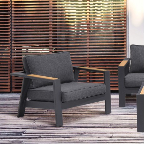 Palau Outdoor Chair in Dark Grey with Natural Teak Wood Accent and Cushions