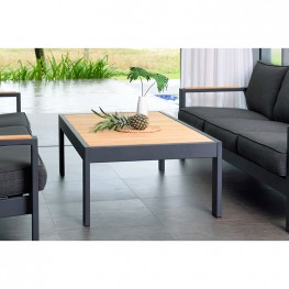 Palau Outdoor Coffee Table in Dark Grey with Natural Teak Wood Top