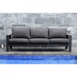 Palau Outdoor Sofa in Dark Grey with Natural Teak Wood Accent and Cushions
