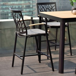 Portals Outdoor Patio Aluminum Barstool in Black with Natural Teak Wood Accent and Cushions