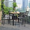 Portals Outdoor Square Bar Table in Natural Teak Wood Top and Black Frame