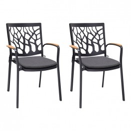 Portals Outdoor Patio Aluminum Chair in Black with Natural Teak Wood Accent-Set of 2