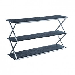 Westlake 3-Tier Black Console Table with Brushed Stainless Steel Frame