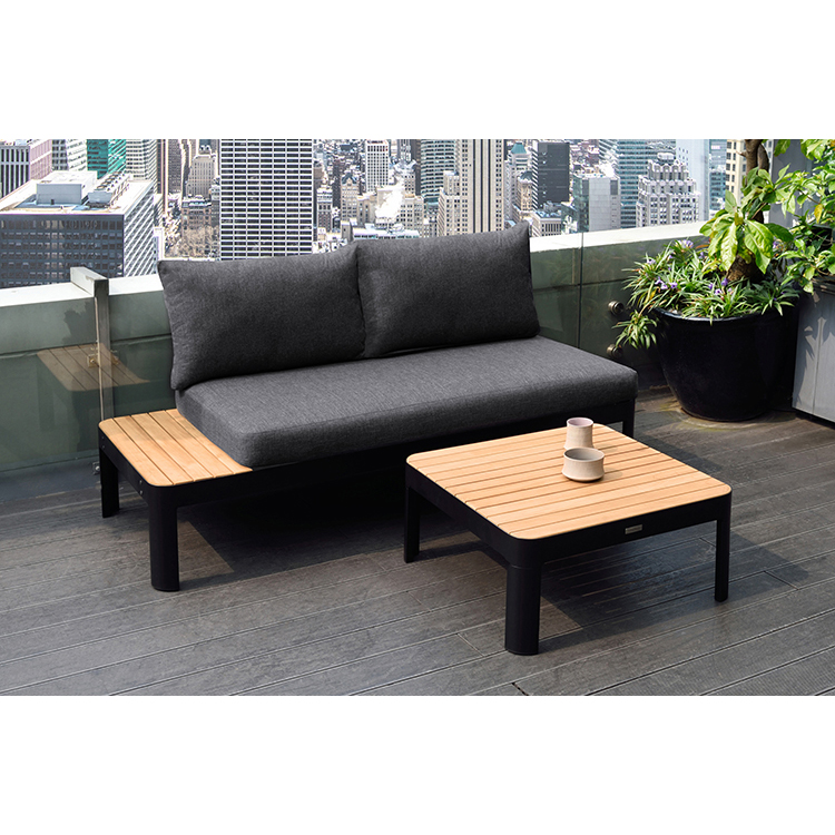Portals Outdoor Square Coffee Table in Black Finish with ...
