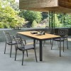 Portals Outdoor Rectangle Dining Table in Black Finish with Natural Teak Wood Top