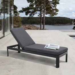 Portals Outdoor Lounge Chair in Black Finish and Grey Cushions