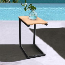 Portals Outdoor C-Shape Side Table in Black Finish and Natural Teak Wood Top